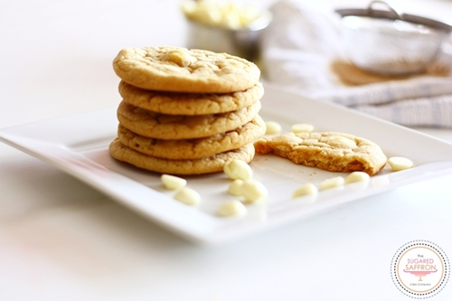 Chewy white chocolate callebaut cookies
