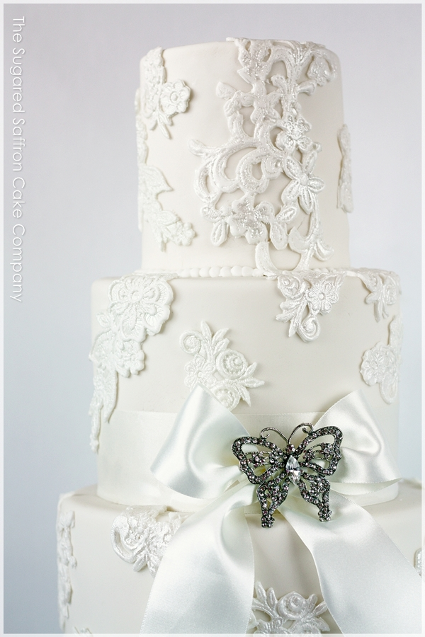 Vintage Lace Wedding Cake {London}