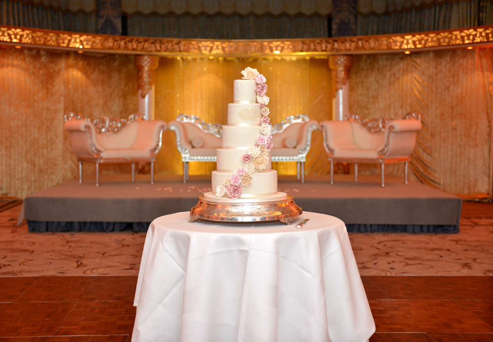Floral cascade wedding cake at The Dorchester