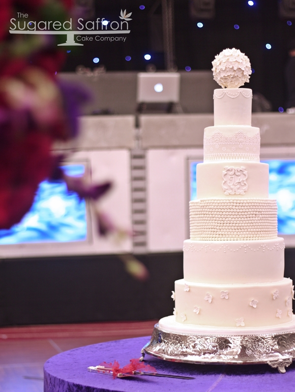 All white wedding cake at Park Plaza