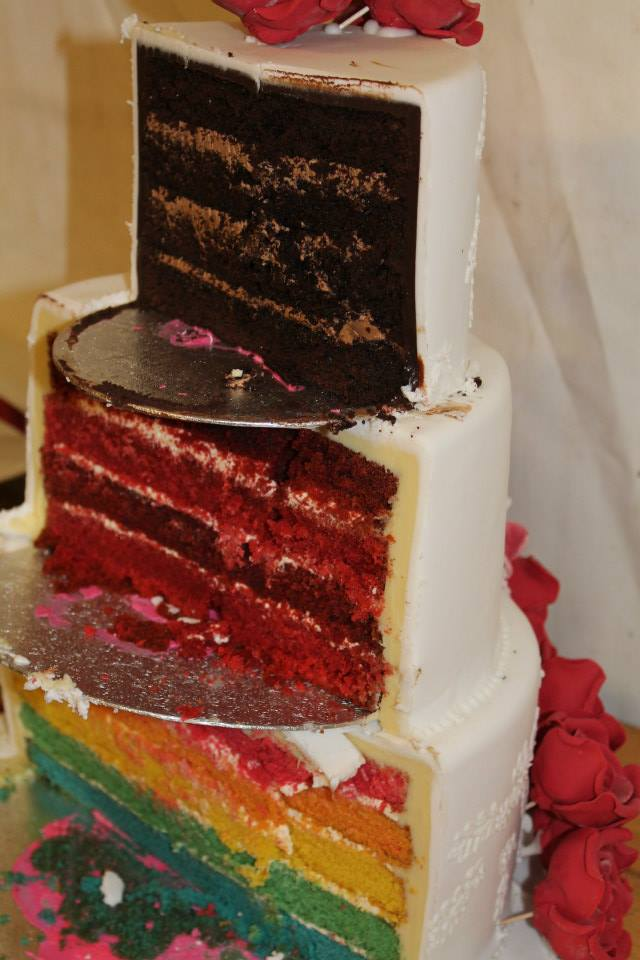cut through wedding cake