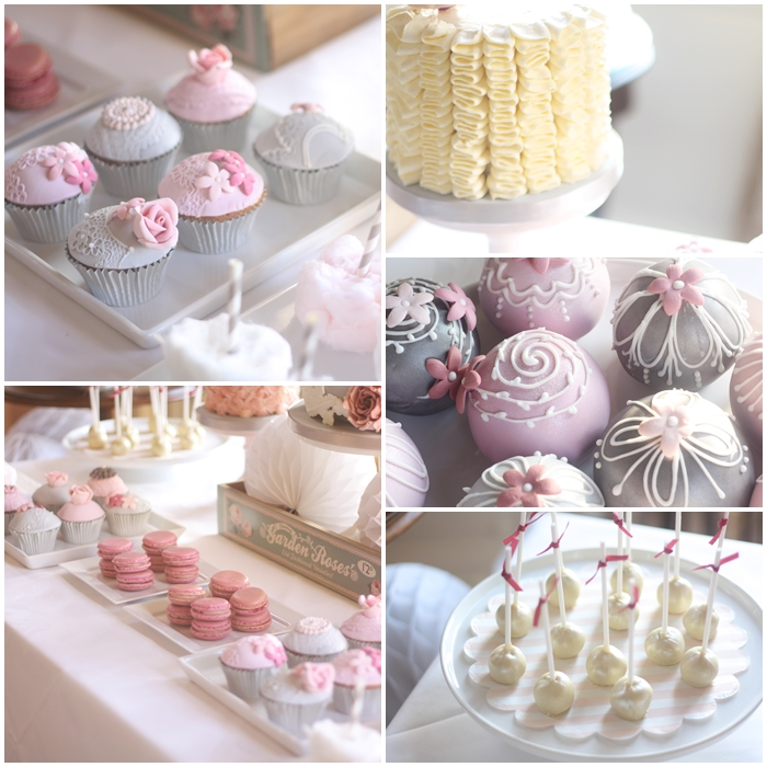 Pink and grey luxury dessert table