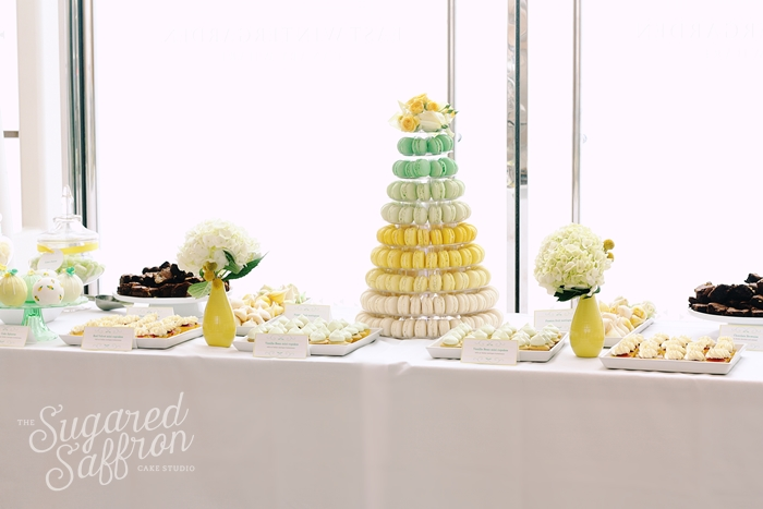 Yellow and mint dessert table