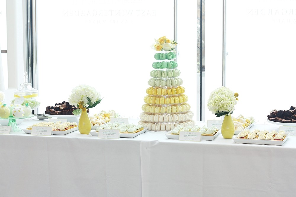 Green and yellow dessert table