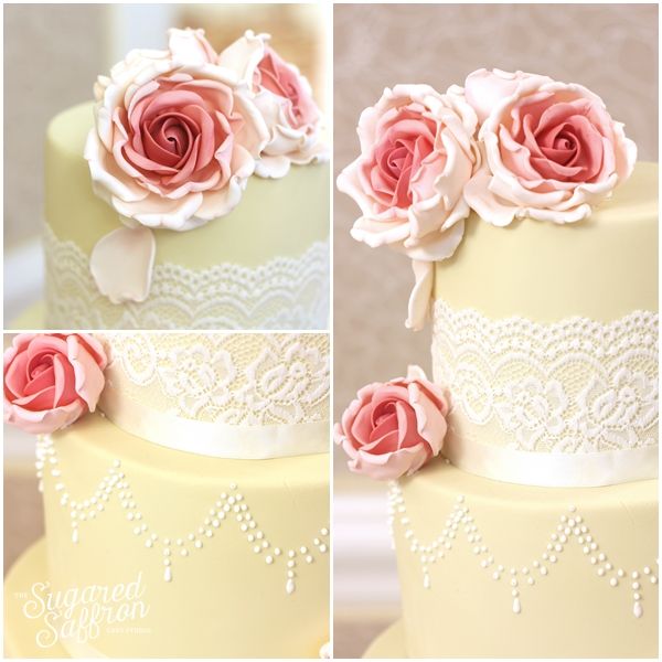 Ivory and pink wedding cake st ermins