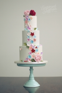 Floral wedding cake in london by sugared saffron