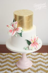 Gold leaf and Alstroemeria wedding cake London sugared saffron