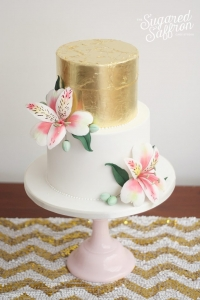 Gold leaf and Alstroemeria wedding cake London sugared saffron