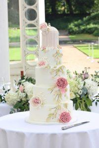 Birdcage wedding cake vintage london sugared saffron