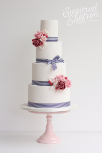 Nautical style wedding cake by Sugared Saffron in London