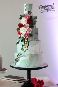 London wedding cake with marble design and sugar flowers by Sugared Saffron