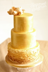 gold brushed wedding cake from cake designer london