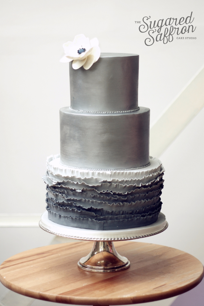 silver shimmer wedding cake from london designer sugared saffron