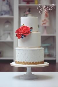 Coral David Austin Roses contemporary london wedding cakes