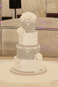Grey and silver leaf wedding cake by sugared saffron
