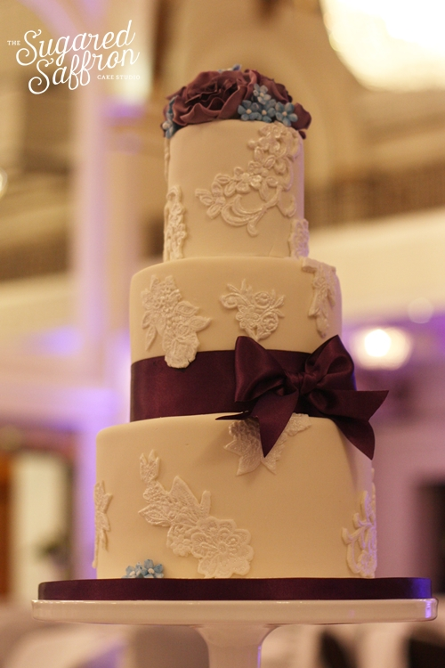 small simple wedding cake at the grand connaught rooms in london