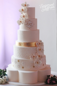 London wedding cake design with orchids