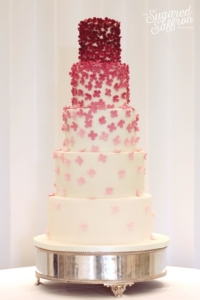 dark pink flowers from london wedding cake maker