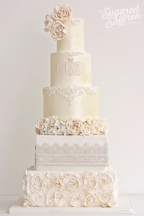 Ivory shimmer cake from Sugared Saffron London studio