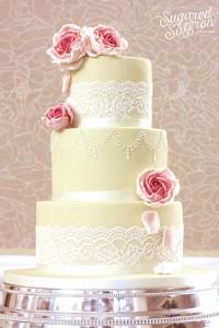 ivory and lace wedding cake from london wedding cake designer