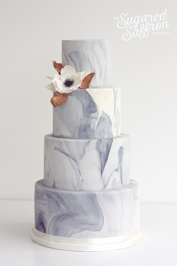Marbled wedding cake in London by Sugared Saffron