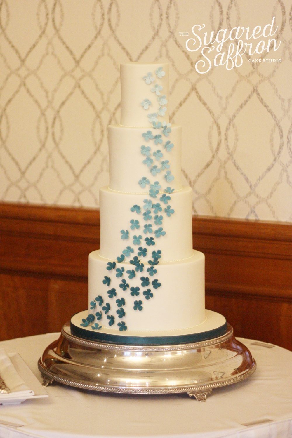 Teal wedding cake london