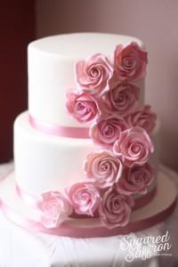 pale pink cascade from wedding cake designer
