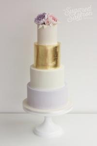 Gold leag and peonies luxury wedding cake london
