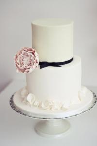 Simple romantic wedding cake by designer sugared saffron in London
