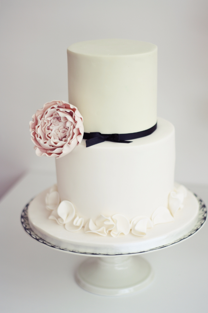 Simple romantic wedding cake by designer sugared saffron in London