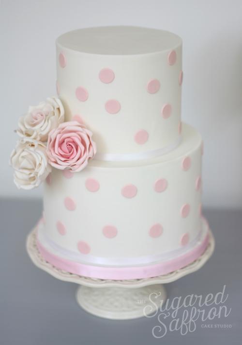 Polka Dot 2 Tier Roses The Sugared Saffron Cake Studio