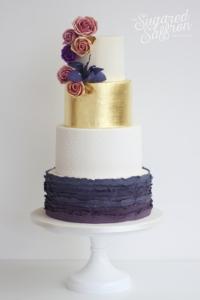 Gold leaf with amnesia roses and purple luxury sugared saffron