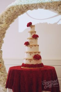 Red and gold asian wedding cake london sugared saffron