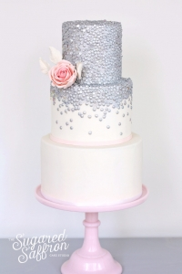 silver sequin cake from london based cake maker
