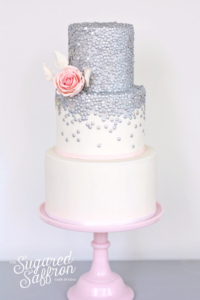 silver sequin cake from london based cake maker