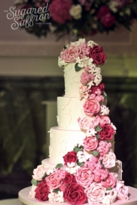 shades of pink sugar rose cascade cake from wedding cake expert in london