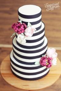 black and white modern striped cake from london based cake designer