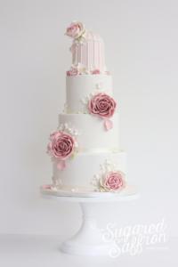 Vintage birdcage wedding cake in London by designer Sugared Saffron