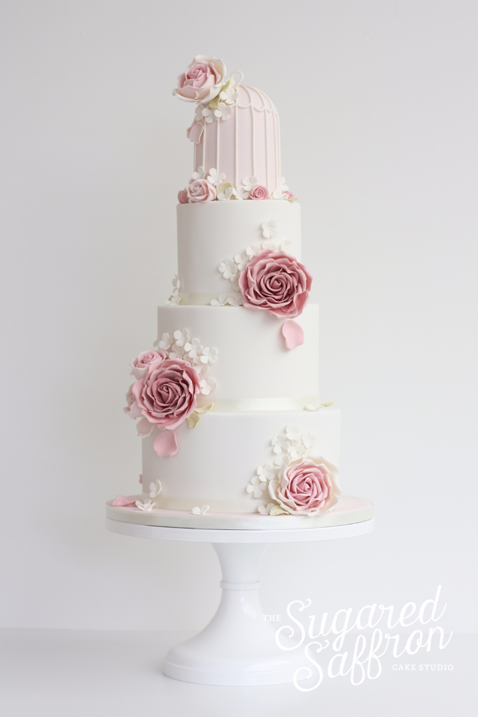 Vintage birdcage wedding cake in London by designer Sugared Saffron