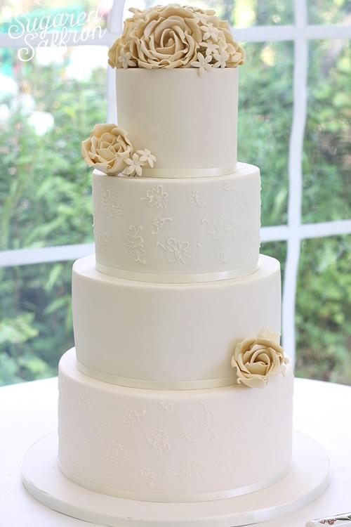 simple white ivory cake from london based cake designer sugared saffron
