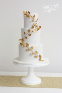 Gold leaves wedding cake in London Sugared Saffron