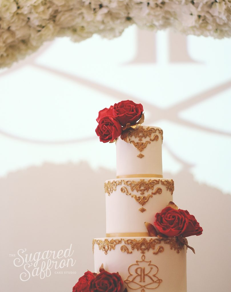 Asian Styled Red and Gold Wedding Cakes London