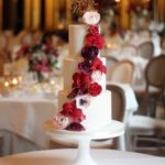 red and burgundy wedding cake