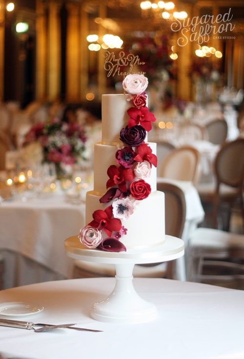 Shades of Red Wedding Cake at Hotel Café Royal