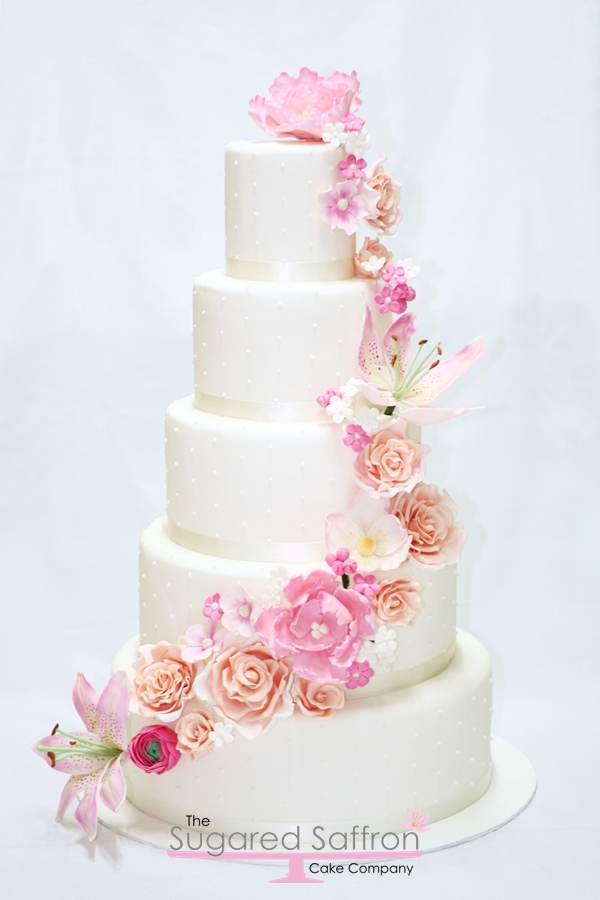 sugar flower cascade London wedding cake