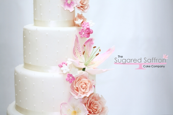 Flower cascade London wedding cake