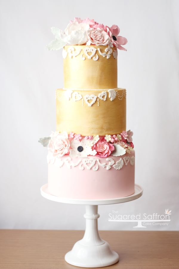 Pink and gold baroque cake