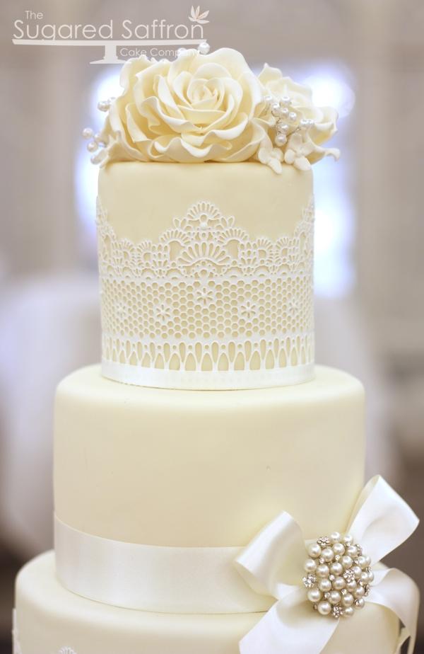 Ivory And White Lace Wedding Cake Ivory And White Fondant
