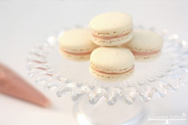 White and pink macarons