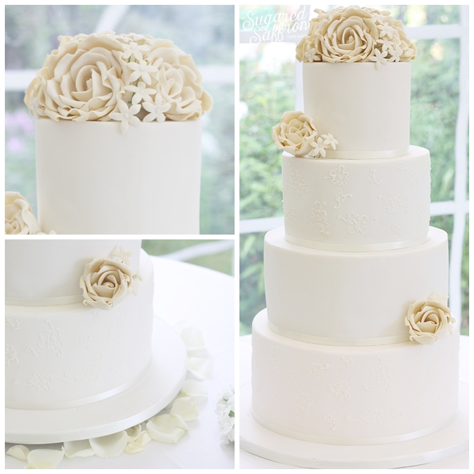 White wedding cake in hampshire